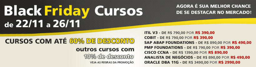 Black Friday para Cursos e Certificações na Trainning Education